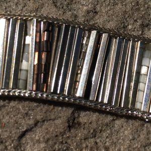 Vintage Silver Tone Beaded Ladder Bracelet